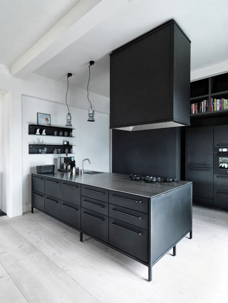 Kitchen with black island