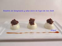 bombon de gorgonzola con salsa dulce de higos