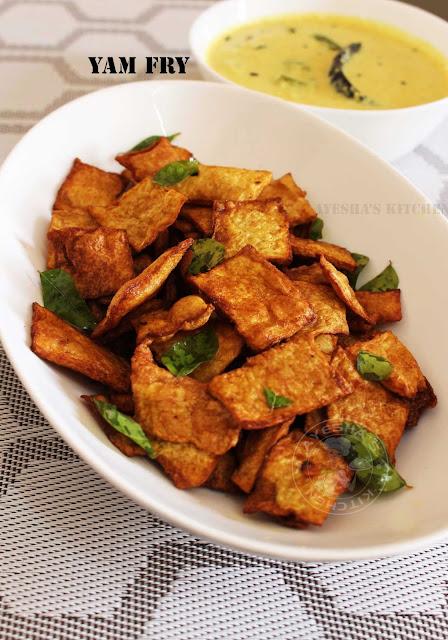 Yam fry crispy fry recipes easy spicy yam fry healthy veg side