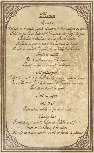 Meniu botez tip pergament medieval cu hartie invechita si scris arhaic