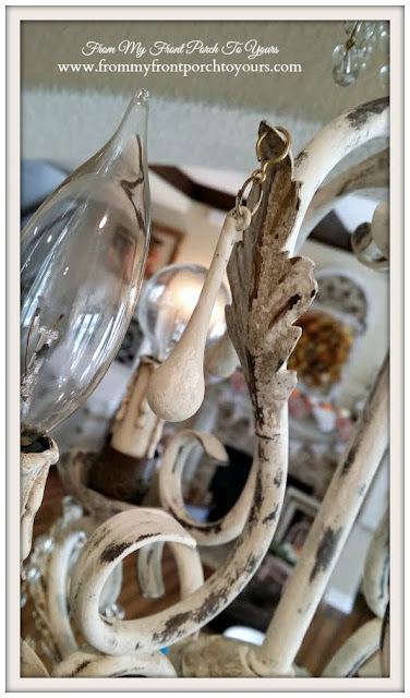 French Chandelier Makeover-Chalk Paint-Painted Crystals- From My Front Porch To Yours