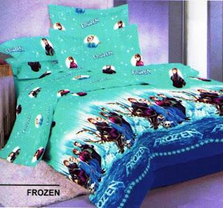 Contoh Seprei Dan Bedcover Motif Frozen  Untuk Tempat Tidur Anak Perempuan