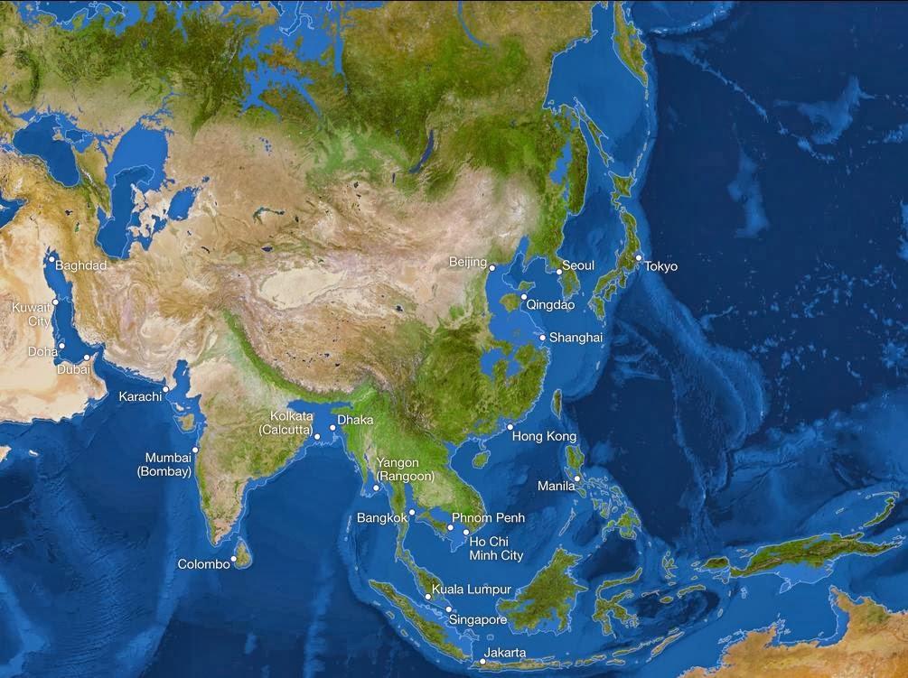 asia sea level rise map
