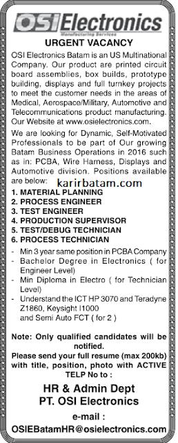 Lowongan Kerja PT. OSIE Electronics
