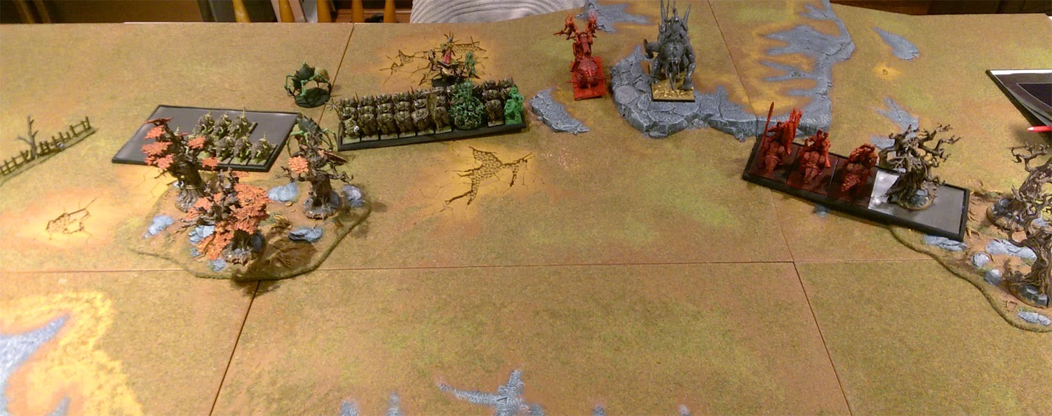 A Warhammer Fantasy Battle Report between Ogre Kingdoms and Legions of Chaos.