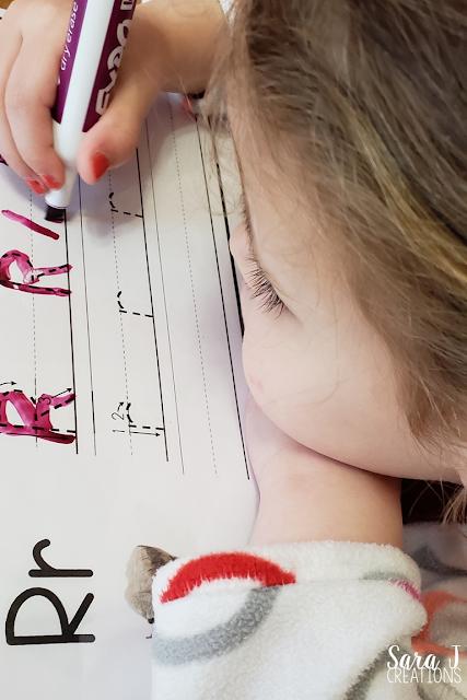 Letter R handwriting practice
