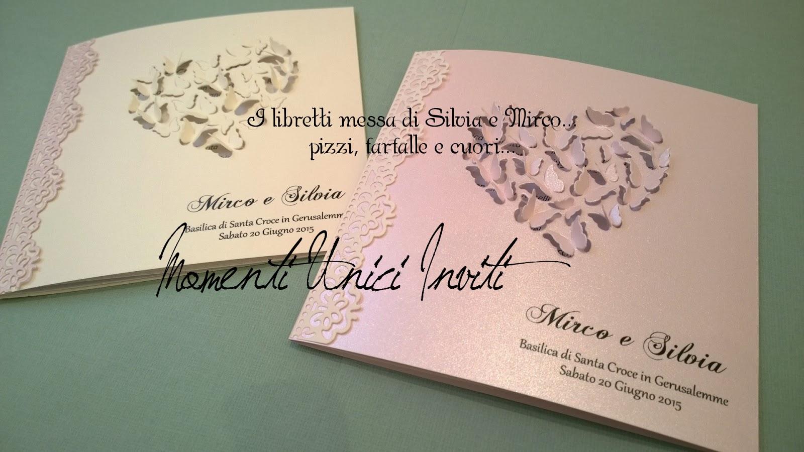 lib I libretti messa di Silvia e MircoColore Rosa Partecipazioni intagliate Partecipazioni Pizzo