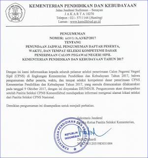 Jadwal Pengumuman Peserta, Waktu dan TUK SKD CPNS Sesi II Tahun 2017 Kemendikbud Diundur
