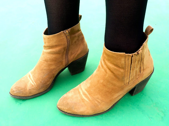 Peter Pan inspired Disneybound outfit shoe details of low heeled brown suede ankle boots