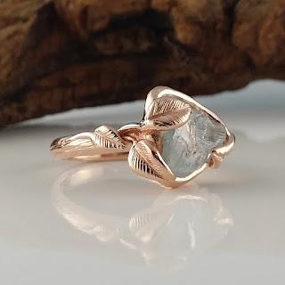 Rough Aquamarine, Aquamarine Engagement Ring, Aquamarine Stacking Ring, Promise Ring, Wedding Ring