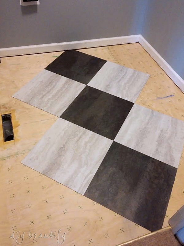 peel and stick tile for a laundry room floor