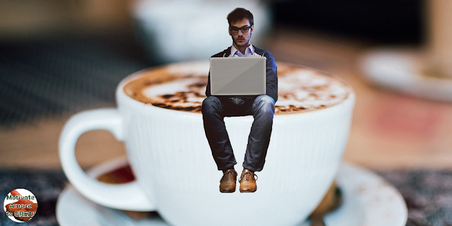 "Header image of the article. ""How To Get Inspiration For Creative Writing: 7 Tips & Techniques"". Man, writer, cup of coffee, ideas, creativity."