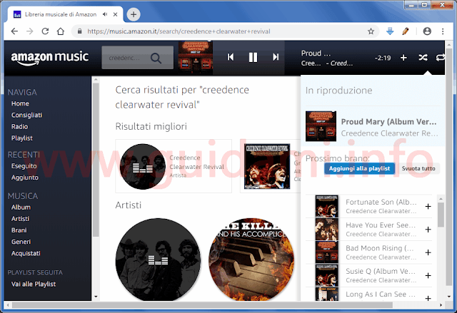 Schermata del player Amazon Music su Chrome desktop