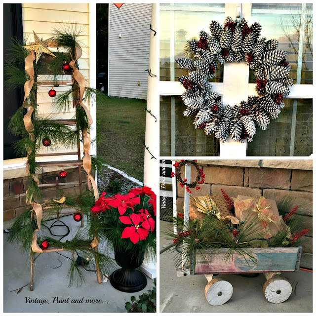 collage of Christmas decorated thrift items