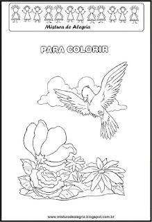 Desenho de primavera e árvore para colorir