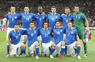 Mario Balotelli lines up with the Italian national team at the finals of Euro 2012