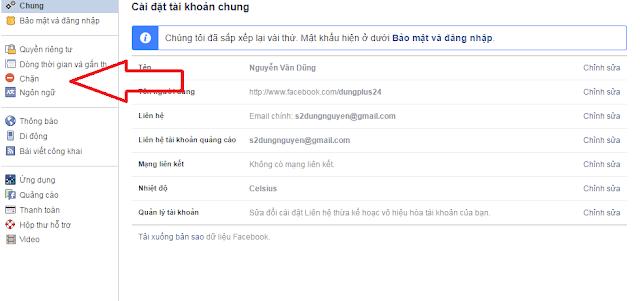 hướng dẫn chặn người dùng facebook