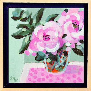 Flower painting by artist Merrill Weber original acrylic on canvas 6 x 6 Celebration 122 framed