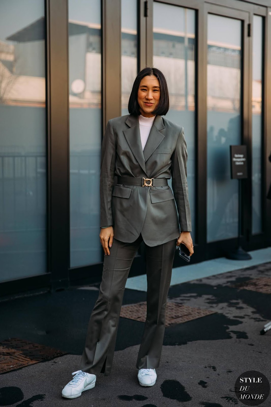 A Belted Suit Is Perfect For Fall Workweeks