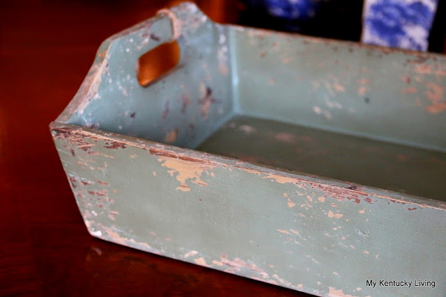 green chippy distressed tray