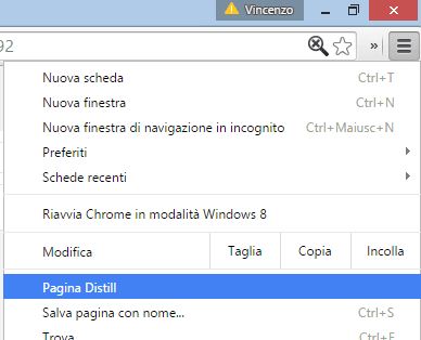 Menu Chrome opzione Pagina Distill