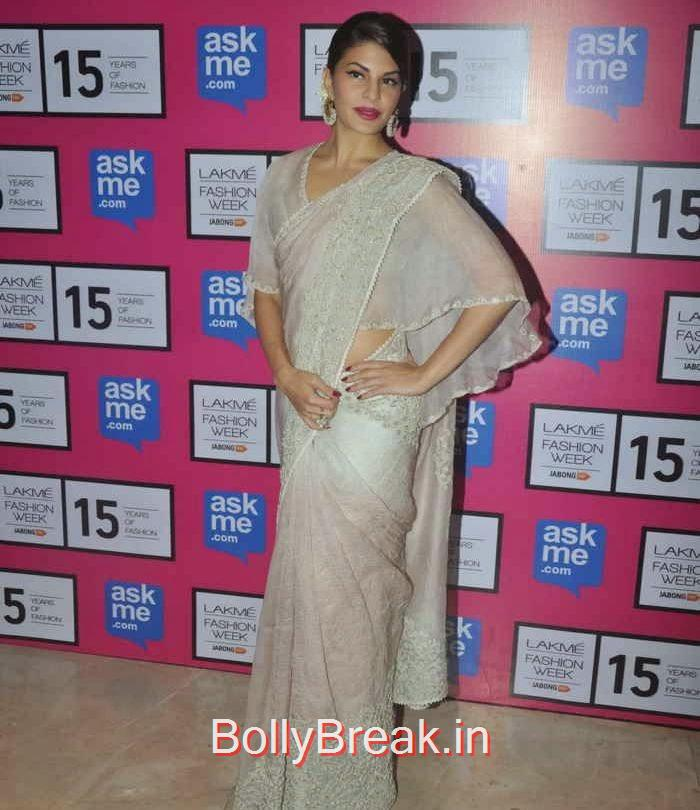 Jacqueline Fernandez Pics, Jacqueline Fernandez in White Saree at Lakme fashion Week 2015