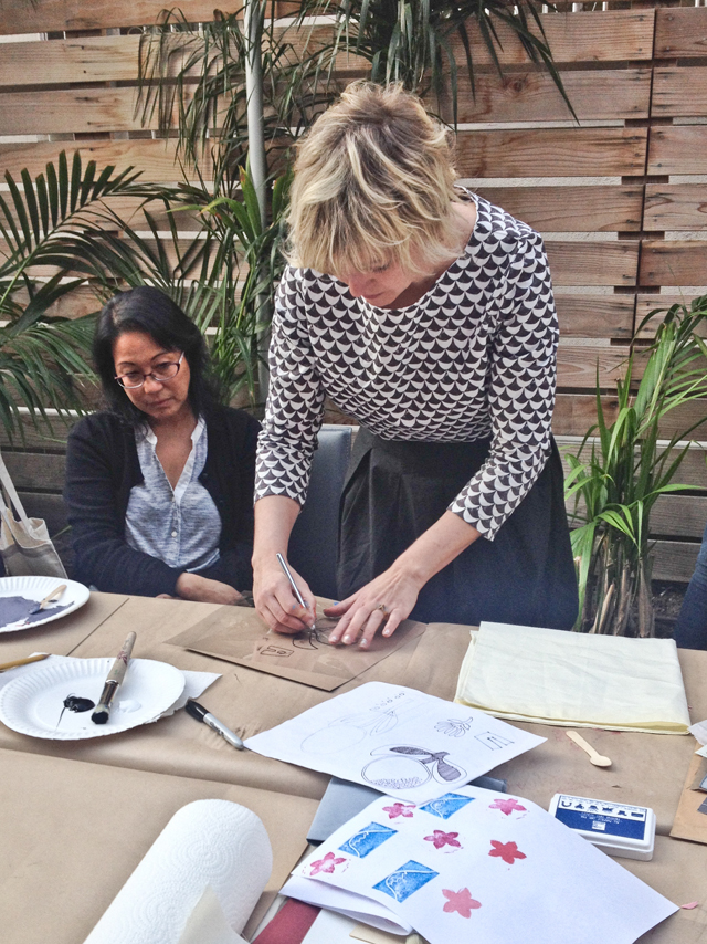 Surface printing workshop with Lotta Jansdotter | Stencil making | The Line Hotel | Poketo | Los Angeles California