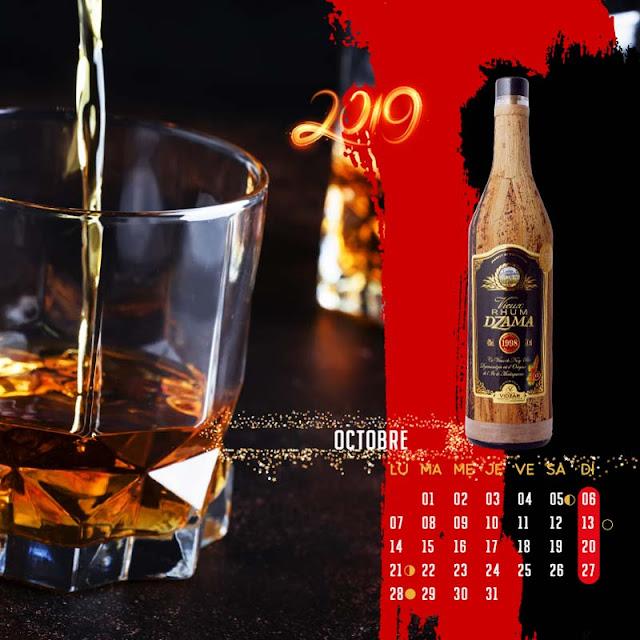 calendrier chevalet rhum vieux millésime 1998 Dzama octobre