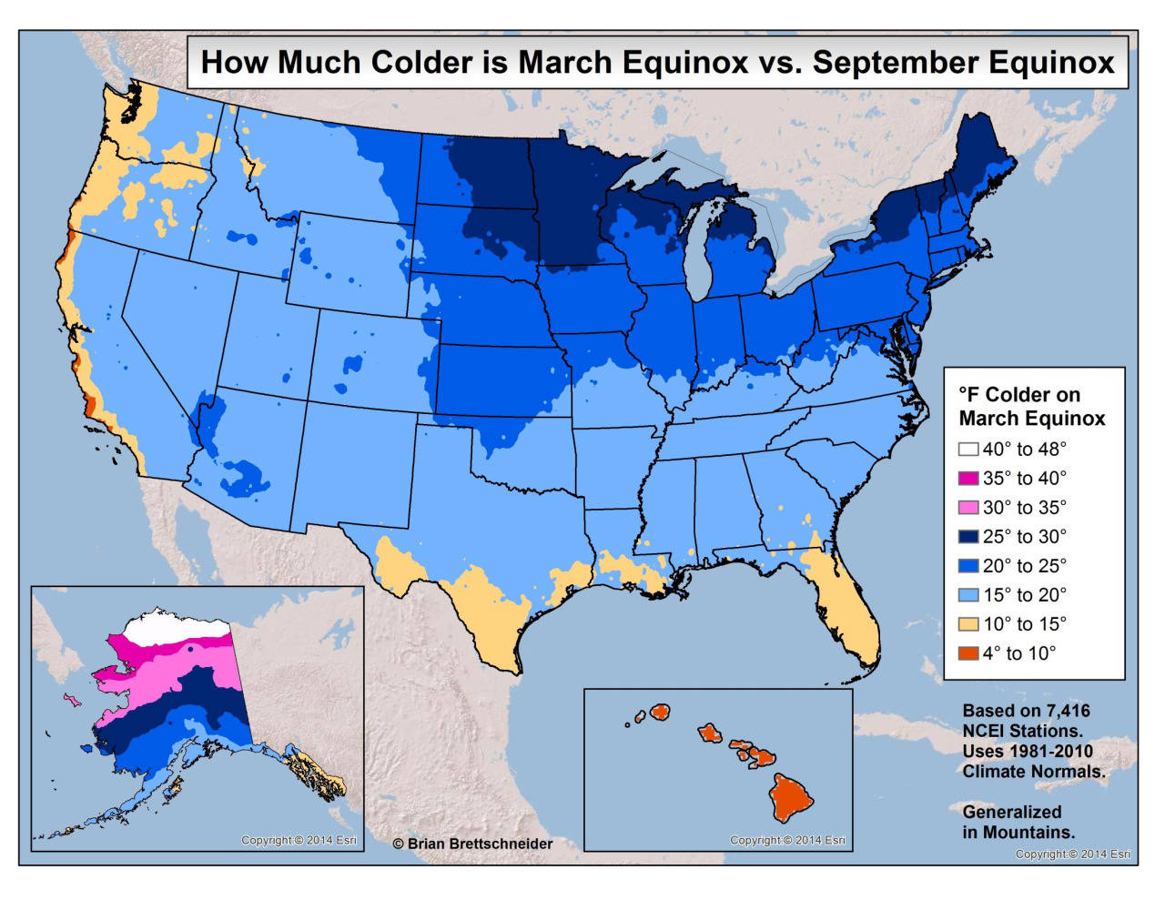 How much colder is March Equinox vs. September Equinox