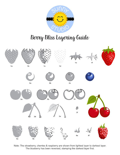 Sunny Studio Stamps: Berry Bliss Strawberry, Blueberry, Cherry & Raspberry Stamp Layering Guide
