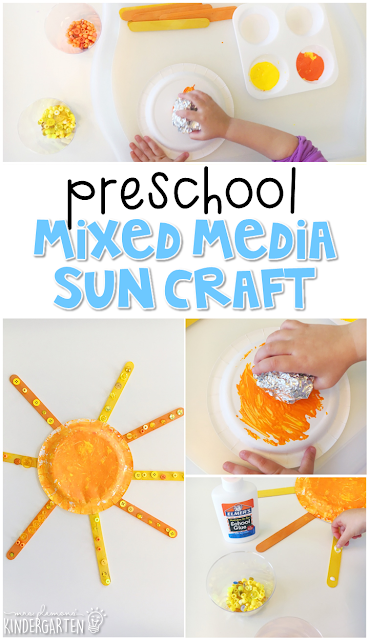 Our mixed media sun craft was just what we needed to brighten up a rainy day. Perfect for our weather theme in tot school, preschool, or even kindergarten!