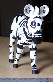 pottery miniature of zebra for Zany Zebra marwell