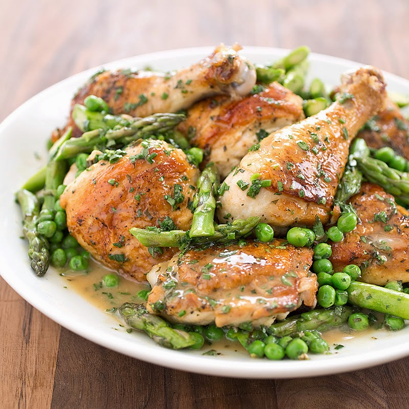 Skillet Chicken with Spring Vegetables Recipe