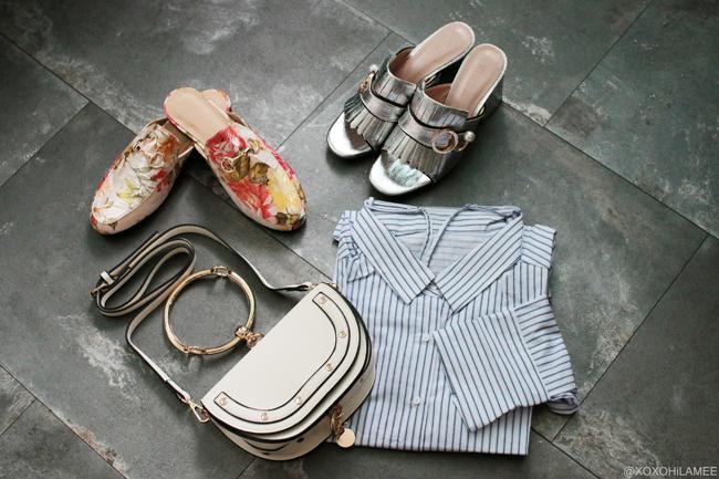 Japanese Fashion Blogger,Mizuho K,6月に買ったモノ,SheIn-花柄刺繍ローファー風スリッパ,シルバーフリンジミュール,リングハンドルミニバッグ,3Wayストライプシャツ