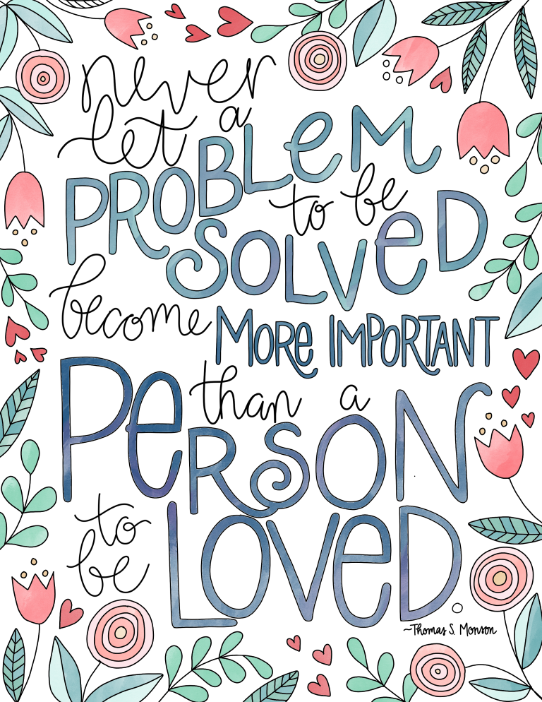 just what i {squeeze} in: Problems vs People - free LDS coloring page