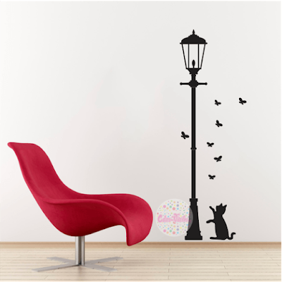 vinilo decorativo pared farol gato mariposa