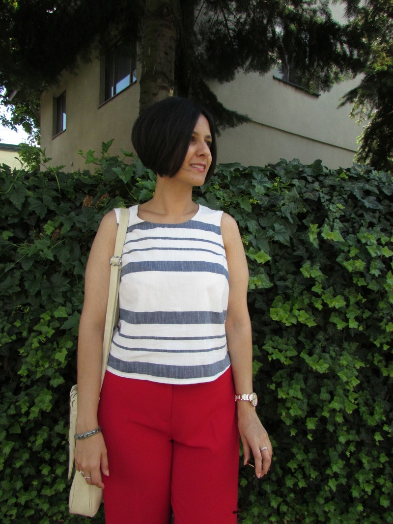 red culottes and blue striped top