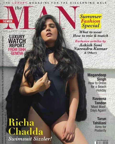 Richa Chadha On The Cover of Man Magazine India April 2017