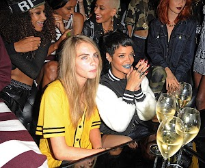 Rihanna and Kara Devlin at the presentation of River Island in London