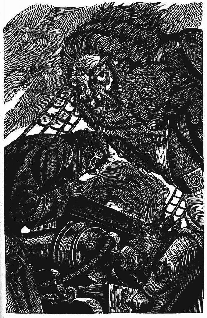 a Fritz Eichenberg illustration of an ugly sea captain