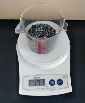 100mlの大磯砂の重さは171g