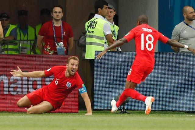 Harry Kane celebrates scoring the winner for England
