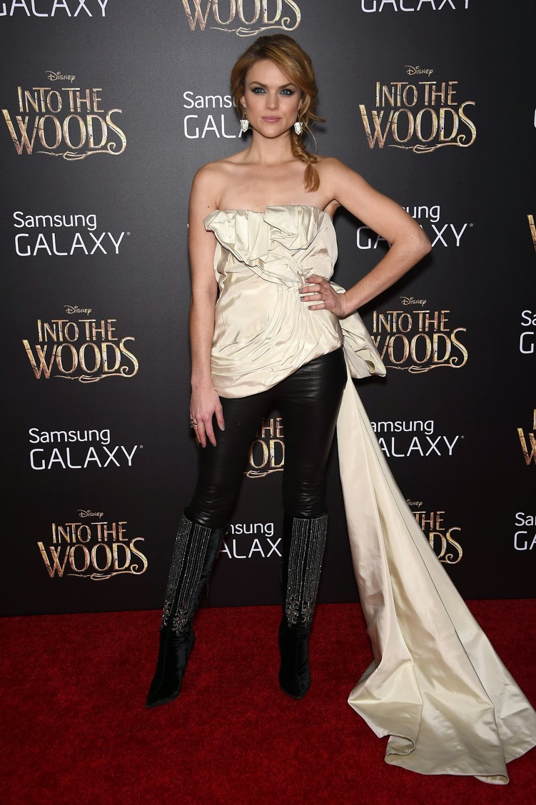Erin Richards wears a strapless look for the 'Into the Woods' NYC Premiere