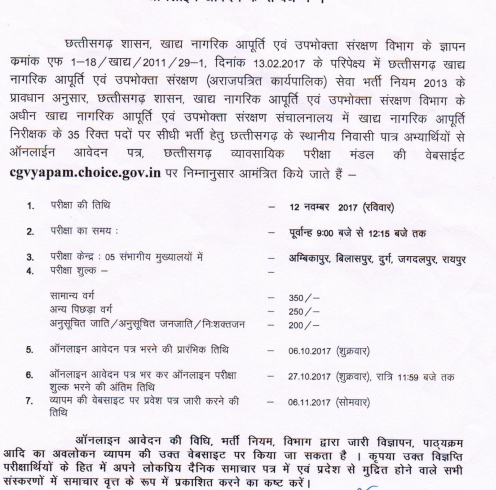CG Vyapam Food Inspector Admit Card