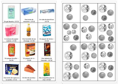 Cartes sur l'apprentissage de la monnaie avec euros et centimes