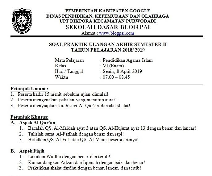 Download Kisi Kisi Dan Soal Praktik Pendidikan Agama Islam Kelas 6 Semester 2 Blog Pai