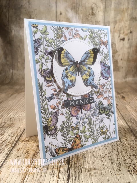 Simple handmade butterfly Thank You card made using the Botanical Butterfly DSP by Stampin' Up!