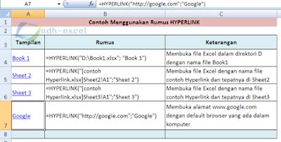 hyperlink function in Excel