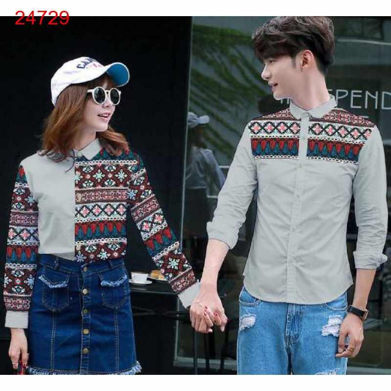 Jual Kemeja Couple Batika Grey - 24729