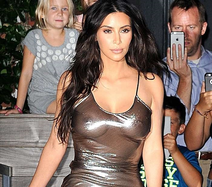 Kim Kardashian with a very transparent dress
